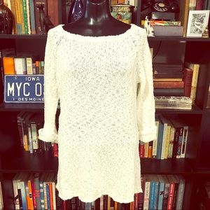Joie Open Knit Off White Tunic Sweater